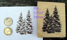 P93  Evergreens, pine trees  rubber stamp wm