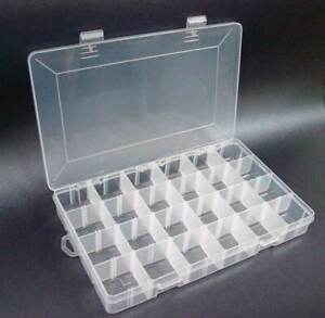 Nail Art Storage Box Case Container Gem Bead Divider False Tips 24 Compartment