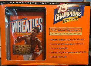 Wheaties 75 Years Of Champions 24 K Gold Signature Limited Edition Muhamad Ali