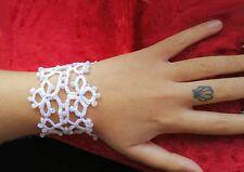 Handmade Tatted lace Bracelet in Frivolite tatting Czech Preciosa Beads giftbox