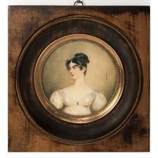Antico Francese Ritratto Miniatura di un Bellissima Woman, Empire