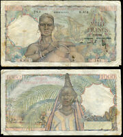 FRENCH WEST AFRICA 1000 1,000 FRANCS 1948 P 42 HEAVY CIRCULATED /USED SEE SCAN