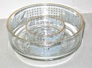 2 PC Clear Glass CHIP DIP Set Etched American Eagles Stars Patriotic FREE SH
