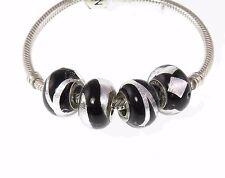 New set 4 Rhona Sutton 925 Sterling Silver murano charm beads - black & silver