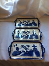 Super Booths Real Old Willow Serving Trays X 3 Pattern No. 9072 - All Damaged