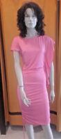Sexi abito vestito donna longuette ginocchio ballo ROSA maniche corte rouge