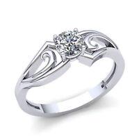 Genuine 1/4ctw Round Cut Diamond Women's Solitaire Engagement Ring 18K Gold