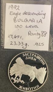 Bulgaria 1992 100 Leva / Eagle / 23.3 Gr .925 Silver Crown & *No Reserve!