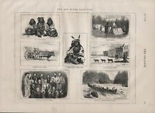OLD ANTIQUE 1874 PRINT CANADA THE RED RIVER TERRITORY b140