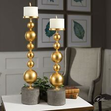 TWO MODERN BRIGHT METALLIC GOLD CANDLE HOLDERS CONCRETE BASE UTTERMOST