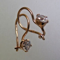 Typical Russia SILVER EARRINGS LEVERBACK CLEAR CRYSTAL HALLMARKED 925 GOLD PLATE