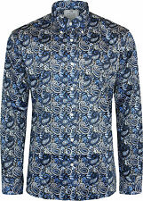 Relco Mens Platinum Navy Paisley Long Sleeved Button Down Shirt Mod Skin 60s L