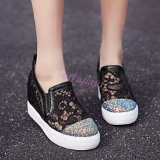 Womens Chic Glitter Sequins Floral Hollow Out Wedge High Heels Fashion Sneaker
