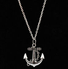 Retro Silver Plated Anchor Alloy Chain Pendant Necklace Charm Jewelry 80s 90s EY