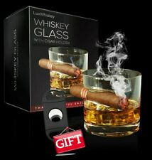 LUXWHISKEY Round Whiskey Glass with Cigar Holder & Cigar Cutter - USA Shipping