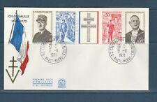 enveloppe 1er jour  bande général de Gaulle 52 Colomey les deux églises    1971