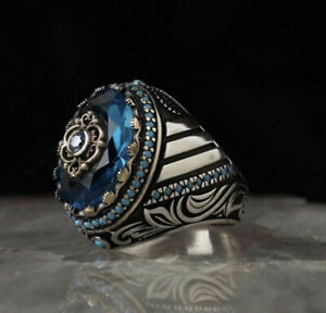 Handmade Pure 925 Silver man ring blue Zircon Gemstone all sizes wedding RRP 60