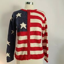 HEIRLOOM COLLECTIBLES Cardigan Large Americana Flag Red White Blue Zip Sweater