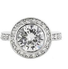 6 Tcw Round Cut Halo Bezel Cz Bridal Engagement Wedding Cocktail Ring Size 5