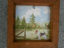 Beautiful Wire Fox Terrier Wall Clock (Made in England) in Sturdy Wood Frame