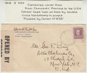 1918 censor commercial cover *PINA CAMAGUEY-NEW YORK USA*