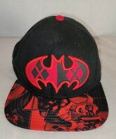 DC Comics Harley Quinn Batman Logo Black & Red Baseball Snapback Hat Cap