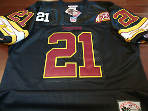 NEW Washington Redskins Throwback #21 Sean Taylor 2Patch sewn Jersey BLACK Mens