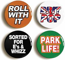 More details for 4 x britpop badges buttons pins (size is 1inch/25mm diameter) nineties