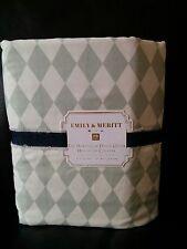 POTTERY BARN TEEN EMILY & MERITT HARLEQUIN FULL QUEEN DUVET COVER GRAY WHITE NEW