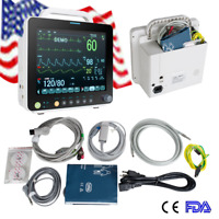 "Medical ICU 12"" Vital Signs Patient Monitor ECG NIBP RESP TEMP SPO2 PR With Box"