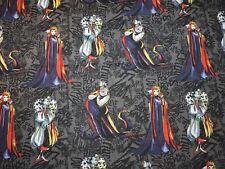 Villains Sketched Disney 100% Cotton Fabric 1/2 Yard Precut 18