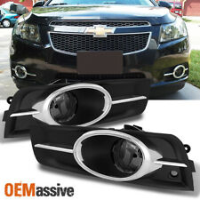 Fit Smoked 2011-2014 Cruze Bumper Fog Lights Lamp W/Chrome Trim L+R 2012 2013