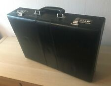 Expandable Briefcase - Black Faux Leather - Grey Interior