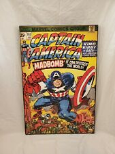 Very Large Captian America Madbomb Wooden Framed Wall Decor Marvel Comics Decore