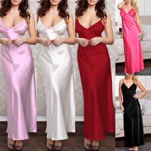 Women Ladies Sexy Long Silk Satin Dress Sleepwear Lingerie Nightie Nightdress Uk