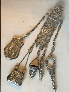 Antique Victorian Sterling Silver Sewing Chatelaine 9 In. 117 Grams Stunning