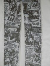 Footless Tights Print Black White Opaque Retro Fancy Dress Goth Punk