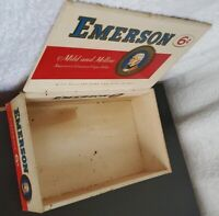 1955 Vintage Authentic Emerson Cigar Box Garage Mancave Rustic Collectible Decor