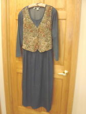 CAROL ANDERSON II 100% Cotton Denim Dress w/Tapestry Vest - Women's Plus 22W