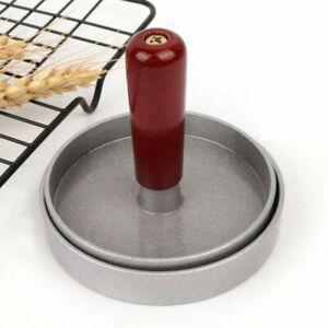 Hamburger Premere Stampo Alluminio Lega Legno Cucina Antiaderente Accessorio