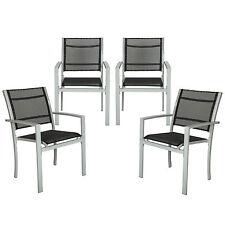 Lot de 4 chaises de jardin camping terrasse balcon salon de jardin siège gris