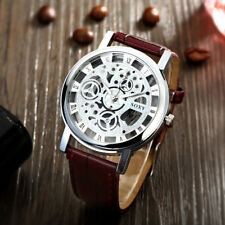 Men's Brown Leather Silver Quartz Wrist skeleton Watch With Silver Dial Gift