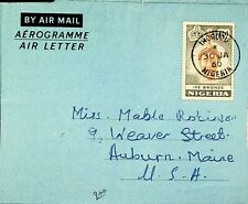NIGERIA 1960 IFE BRONZE 6d ON AIRMAIL AEROGRAMME TO USA