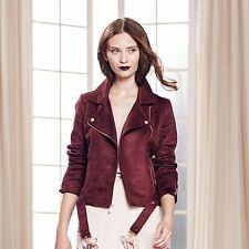 $120~NWT LC Lauren Conrad Runway Faux-Suede Moto Jacket~Burgundy Wine ~ Size 10
