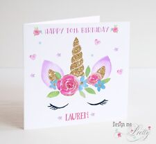 PERSONALISED UNICORN Girls Birthday Card - Name Age Daughter Granddaughter