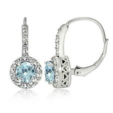 Sterling Silver 1.75ct TGW Aquamarine and White Topaz Round Leverback Earrings