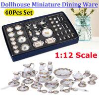 40X Pro Mini Porzellan Geschirr Tee Set Für 1:12 Puppenhaus Puppenstube  E