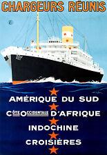 Repro Affiche compagnie maritime des Chargeurs Réunis - Amérique du Sud