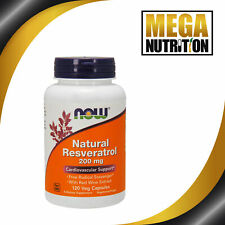 NOW Foods Natural Resveratrol 200mg 120 Veg Capsules | Cardiovascular Support