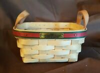 Longaberger 1993 HOLIDAY BASKET Of THANKS Basket Leather Strap Handles Protector